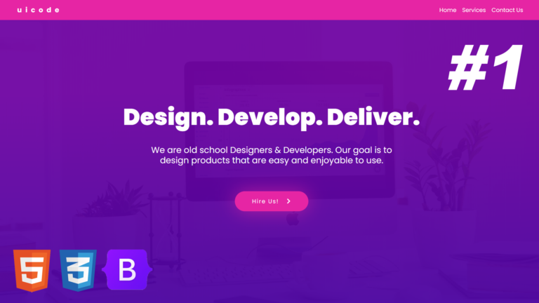 One Page Website | Convert UI Design to HTML, CSS Using Bootstrap 5 | Responsive | Multipurpose – #1