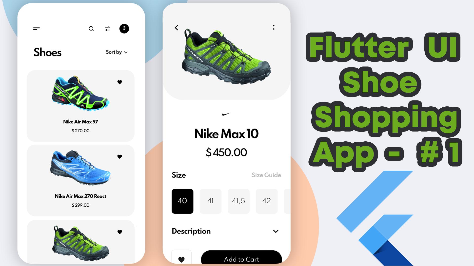 Shoe Shopping Mobile App | Flutter UI | UI Design To Flutter Dart Code  #1