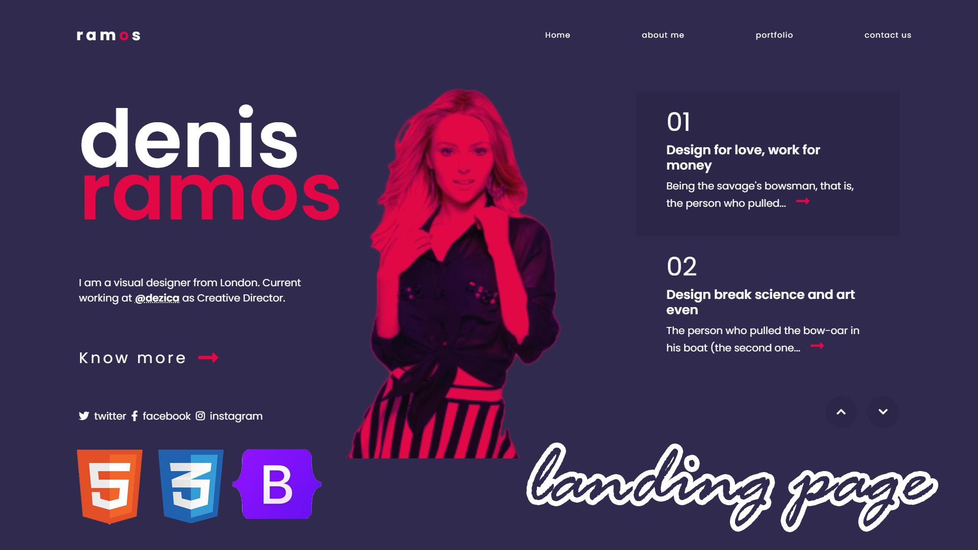 Responsive Portfolio Landing Page Website | Convert UI Design to HTML, CSS Using Bootstrap 5